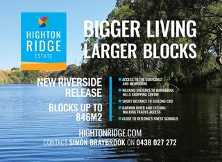 Stage 3 Riverside-;- Highton Ridge